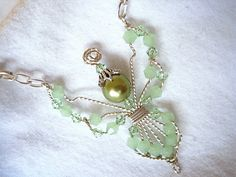 Mint Greeni Bicone Beaded Wire Wrapped Angel  by MDavisDesigns2, $22.00