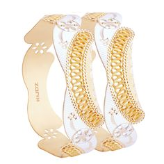 Fine gold design, a gold strip like structure craved on the gold bangle.