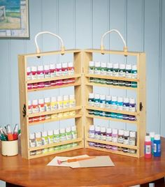 Portable 2 Sided Paint Bottle Caddy Organizer -Need for my glazes Craft Paint Storage, Paint Organization, Scrapbook Organization, Studio Organization, Diy Storage, Storage Ideas, Creative Storage, Organization Ideas, Ideas Para Organizar