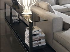 Rectangular glass table Tempered glass table Williams Series by Minotti