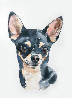 custom pet portrait in watercolor original door wetnosewatercolours, £39.50 #chihuahua