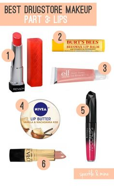 The Best Drugstore Makeup Ever! (Part 3: Lips) This is super helpful for all the girls out that that always feel overwhelmed in the drugstore cosmetics aisle!