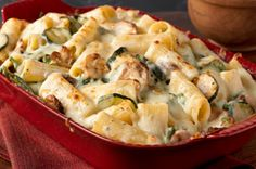 Rigatoni with Spinach & Zucchini - - Get 'em to say Yes! to zucchini—and spinach—with this creamy rigatoni pasta dish. Vegetarian Recipes, Cooking Recipes, Healthy Recipes, Cheesy Recipes, Healthy Meals, Delicious Recipes, Pasta Dishes, Food Dishes, Main Dishes