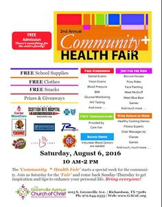 Dallas TX!! Please come out August 6th Greenville Ave Church of Christ Health Fair - Lots of free screening & giveaways! Stop by my table I will be talking about sickle cell disease, I will have free giveaways and information on how to manage this disease naturally!!!