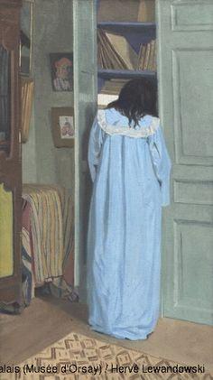 Félix Vallotton (1865-1925) Intérieur, femme en bleu fouillant dans une armoire 1903 (dans ses intérieurs des années 1898-1899, il développe un style réaliste, acéré et souvent féroce. La période 1899-1903 constitue une transition dans la vie et dans la carrière picturale de Vallotton.)