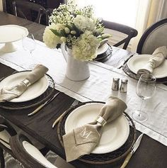Our Emma Dinnerware, Linen Napkins/Table Runner, Antique Silver Salt & Pepper & Gabriella Pitcher never looked better thanks to @cmi33!  #BeHomeTogether #mypotterybarn