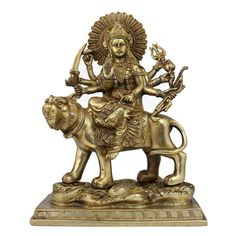 Amazon.com: Idol Durga Statue Goddess Figurine Metal Art Indian; Brass; 7.75 X 4 X 10 Inches: Home & Kitchen