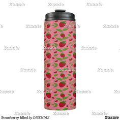 Shop Strawberry filled thermal tumbler created by DISENIAZ. Black Strawberry, Strawberry Filling, Strawberry Fruit, Beverages, Drinks, Custom Tumblers, Red Background, Travel Mug, Pattern Design