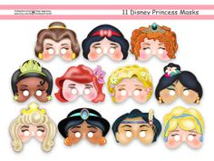 Unique Disney Princess Party Printable Mask Collection,party masks,birthday,party paper,mask,Ariel,Merida,Rapunzel,Cinderella,Jasmine on Etsy, $129.96