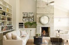 Love the horizontal stone/tile fireplace!