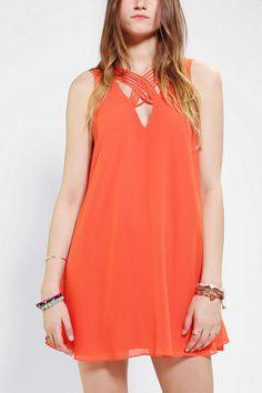 Sparkle & Fade Lattice-Neck Chiffon Dress #urbanoutfitters