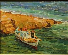 Original 1985 Manos Rovithis Lonely Boat Oil on Canvas Impressionistic Boat on Water
