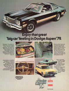 1979 Dodge Aspen R/T Coupe with T-Bar Roof Option (Canadian ad)