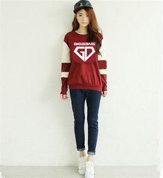 NEW Fashion Women bigbang kpop red collar members or VIP gd top hood hoody d-lite k-pop plus size hooded coat Women Sweatshirts