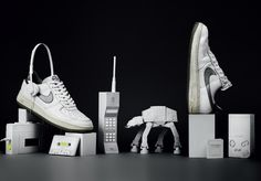 paper retro objects with sneakers