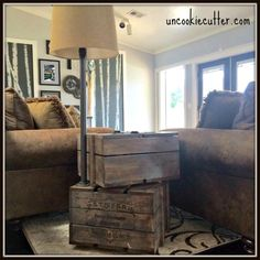 DIY Stacked Crate End Table - Free Plans at Uncookiecutter.com