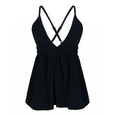 Choies Black Plunge V-neck Backless Peplum  Cami Top (17 AUD) ❤ liked on Polyvore featuring tops, black, peplum tank, v neck peplum top, backless tank, cami tank and backless tank top