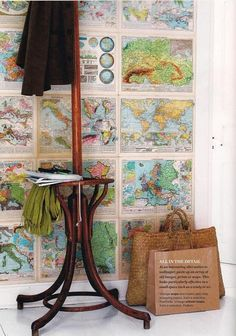Maps as wall coverings from Country Living via The Inspired Room.