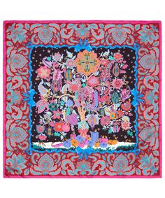 Pink Christmas Tree of Life print silk scarf from the Liberty London Scarves collection.