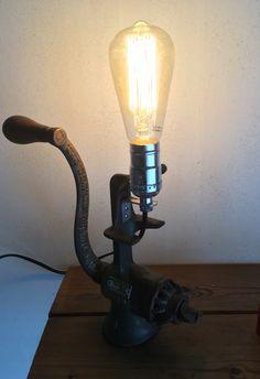 Lampe récup deco loft industriel ancien moulin a viande
