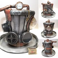 Bella's Creative Space: 5 GIANT steampunk hats Steampunk Cafe, Steampunk Clock, Steampunk Design, Steampunk Accessories, Steampunk Clothing, Steampunk Fashion, Steampunk Outfits, Spanish Hat, Plastic Shop