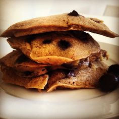 Banana and blueberry pancakes (without the protein powder). These look yum.