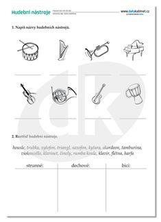 hudební nástroje Kids Learning Activities, Kuta, Music Lessons, Montessori, Preschool, Education, School Ideas, Music Activities, Harp