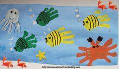 les poissons avec les empreintes de mains, , explications sur mon blog