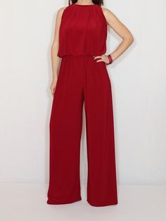 Wine red wide leg jumpsuit for women / Burgundy red halter top jumpsuit Burgundy Jumpsuit, Red Jumpsuit, Palazzo Jumpsuit, Romper Suit, Halter Jumpsuit, Romper Pants, Brown Jumpsuits, Jumpsuits For Women, Off White Pants