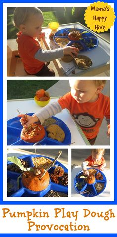 Pumpkin Play Dough Provocation - www.mamashappyhive.com Fine Motor Activities For Kids, Autumn Activities, Sensory Activities, Infant Activities, Sensory Rooms, Learning Activities, Fun Crafts To Do, Crafts For Kids, Montessori Practical Life
