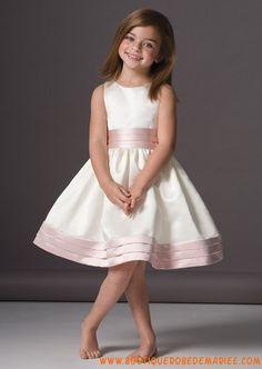 Robe cortège fille satin blanc/rose