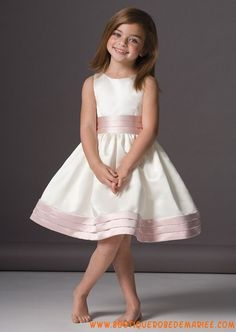 Robe cortège fille satin blanc/rose