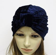 Navy blue velvet turban hat for women, top knot turban, elegant hat, retro style hat, women's turban, front knotted turban by accessoriesbyrita on Etsy Turban Hat, Head Accessories, Top Knot, Blue Velvet, Retro Style, Hats For Women, Retro Fashion, Winter Hats, Navy Blue