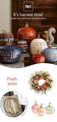 Pier 1 Decorative Sphere Amber Brown Leaves Large Red Berries Harvest Fall New