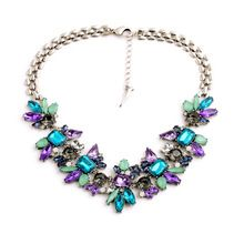 Bohemia Leaf Blue and Purple Korea Statement Choker Colares Femininos Necklace Silver New Style Synthetic Crystal Necklaces CC(China (Mainland))