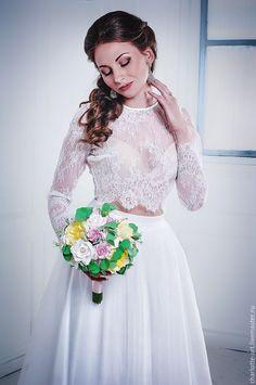 Wedding lace costume / Свадебная юбка и топ комплект - белый, юбка в пол, свадебное платье, свадебный комплект