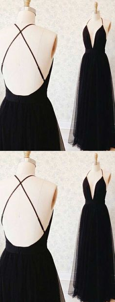 Long Prom Dresses Black, A-line Party Dresses V-neck, Tulle Sexy Formal Evening Dresses Backless