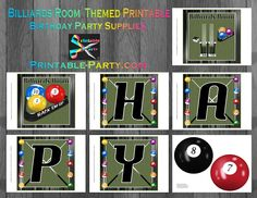 Printable Billiards Room Party Supplies | Pool Table Theme Birthday Decorations