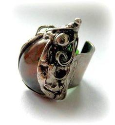 http://megasilver.pl/Pierscionek-p177 #ring #metalwork #handmade  #brown #agate #stone #jewelry #jewellery