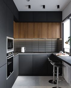 Selection for a modern and refined kitchen - HomeDBS Kitchen Room Design, Luxury Kitchen Design, Kitchen Cabinet Design, Home Decor Kitchen, Interior Design Kitchen, Home Kitchens, Black Interior Design, Grey Kitchens, Small Modern Kitchens