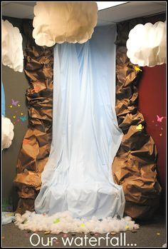VBS--waterfall and hanging puffy clouds