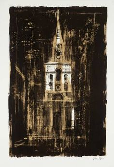 Artwork page for Christ Church, Spitalfields, London: by Nicholas Hawksmoor', John Piper, 1964 Edward Hopper, Urban Landscape, Landscape Art, John Piper Artist, Nicholas Hawksmoor, A Level Art, Sense Of Place, Art And Architecture, Architecture Sketchbook