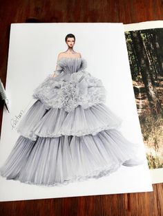 Fashion Designer Illustrates Gorgeous Gowns in Enchanting Detail - Eris Tran creates beautiful fashion illustrations of gowns flowing with exquisite details. Source by - Fashion Design Sketchbook, Fashion Design Drawings, Fashion Sketches, Art Sketchbook, Fashion Illustration Dresses, Dress Illustration, Fashion Illustrations, Medical Illustration, Traditional Dresses Designs