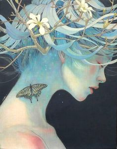 Japanese artist Miho Hirano produces gorgeous oil on canvas paintings by blending female figures with natural elements, creating beautifully ethereal compositions. Art And Illustration, Fantasy Kunst, Fantasy Art, Japanese Artists, Asian Art, Art Inspo, Art Girl, Amazing Art, Illustrator