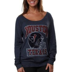 houston texans ladies vintage helmet off shoulder t-shirt