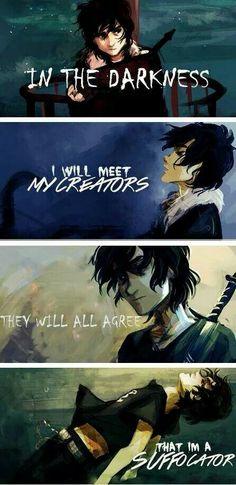 Na escuridão eu vou encontrar os meus criadores todos eles concordarão que sou um sufocador