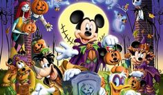 Mickey Mouse And Friends, Mickey Minnie Mouse, Disney Mickey, Mickey Mouse Wallpaper, Cute Disney Wallpaper, Mickey Halloween Party, Happy Halloween, Pato Donald Y Daisy, Vintage Halloween Cards