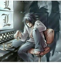 Ryuzaki,L - Death Note,Anime - L Lawliet, his real name! Death Note L, Death Note Quotes, Death Note Fanart, Death Note Near, Blue Exorcist, L Ryuzaki, Dead Note, Super Manga, Death Note