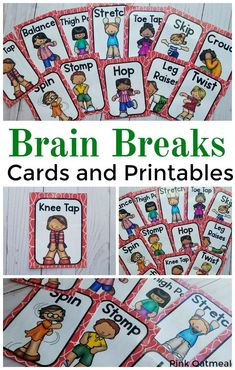 Brain Break Cards. Easy and fun brain break activities. These are quick and easy visual brain break cards that are perfect for a classroom, group, physical education, physical therapy or occupational therapy. Brain breaks for the classroom are a must!