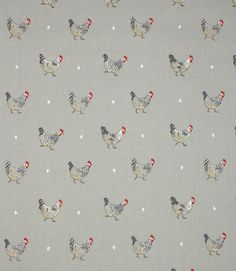 Sophie Allport Chicken Fabric / Grey | Just Fabrics